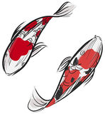 Pittura di Artisic del pesce giapponese della carpa (Koi) Fotografia Stock Libera da Diritti