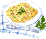Pittura di carbonara degli spaghetti dall'acquerello illustrazione vettoriale