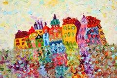 Pittura di case divertenti. Immagine Stock