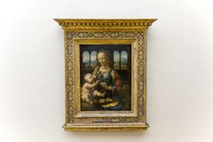 Pittura di da Vinci nel Alte Pinakothek a Monaco di Baviera Fotografia Stock