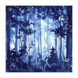 Pittura di Forest Watercolor illustrazione di stock