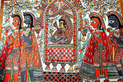 Pittura di Madhubani. Fotografia Stock Libera da Diritti