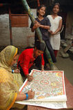 Pittura di Madhubani in Bihar-India Fotografia Stock Libera da Diritti