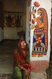 Pittura di Madhubani in Bihar-India Fotografie Stock Libere da Diritti
