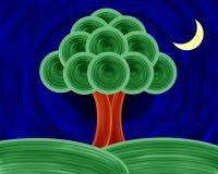Pittura di notte dell'albero della vita Immagine Stock