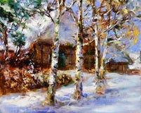 Pittura di paesaggio di inverno Fotografie Stock