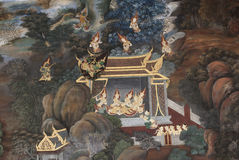 Pittura di parete antica degli angeli Fotografia Stock