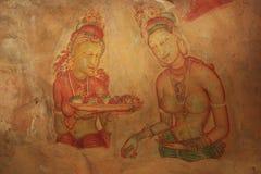 Pittura di parete, Sigiriya, Sri Lanka Immagini Stock Libere da Diritti