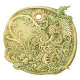 Pittura di pietra della moneta di fiaba (amuleto) Isolato su Lo bianco Immagini Stock