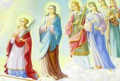 Pittura di Relogious, icona cristiana in chiesa ortodossa Fotografie Stock
