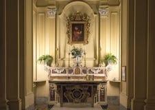Pittura di Saint Paul con una struttura decorata, sopra un piccolo altare nei Di San Paolo di Chiesa, centro storico di Sorrento, Fotografia Stock