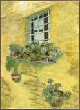 Pittura di scena dei fiori della scatola di WindWindow con la scena rustica dei fiori della scatola di pantano del mattone che di immagine stock libera da diritti