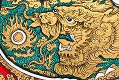 Pittura di stile cinese di arte sulla parete Immagine Stock Libera da Diritti