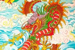 Pittura di stile cinese di arte sulla parete Fotografie Stock Libere da Diritti