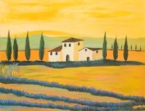Pittura di un paesaggio toscano Fotografia Stock
