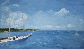 Pittura di una barca in acqua Fotografia Stock Libera da Diritti