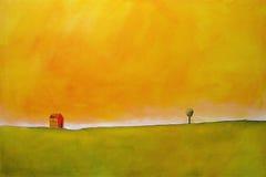 Pittura di una scena dell'azienda agricola Fotografia Stock