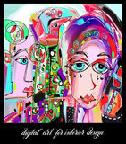 Pittura digitale contemporanea originale delle donne del viso umano royalty illustrazione gratis
