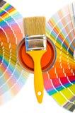 Pittura e campioni arancio. Immagini Stock