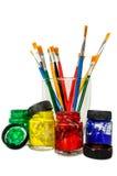 Pittura e spazzola Fotografie Stock