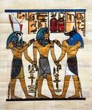 Pittura egiziana del papiro Immagini Stock Libere da Diritti