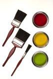 Pittura a emulsione - pennelli - isolata Fotografie Stock Libere da Diritti