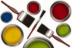 Pittura a emulsione - pennelli - isolata Fotografia Stock