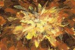 Pittura fatta a mano del backround dell'estratto di marrone giallo Immagini Stock Libere da Diritti