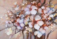 Pittura fatta a mano del fiore delle mandorle Fotografie Stock