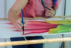 Pittura fatta a mano della tela sulla tela Fotografia Stock Libera da Diritti