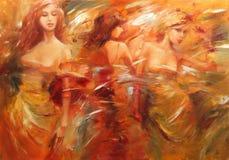 Pittura fatta a mano delle figure femminili Immagine Stock