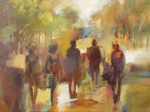 Pittura fatta a mano di camminata della gente Fotografia Stock