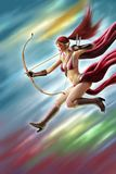 Pittura femminile di Digital di attacco del guerriero di Elf Fotografia Stock