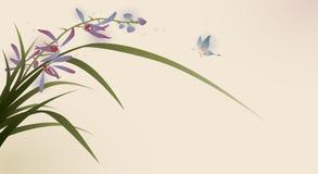 Pittura, fiori e farfalla orientali di stile Fotografie Stock