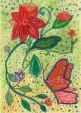 Pittura floreale creata entro 11 anno Immagini Stock