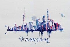 Pittura generata da computer dell'acquerello della vista di Shanghai immagine stock