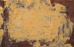 Pittura gialla sul bordo di legno Fotografie Stock Libere da Diritti