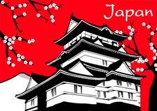 Pittura giapponese del fiore di sakura della pagoda sul rosso Fotografia Stock Libera da Diritti