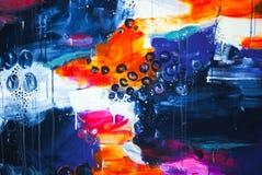Pittura grigia bianca rosa blu di tiraggio della pittura di acrilici del fondo di struttura di colore della cascata fotografia stock libera da diritti