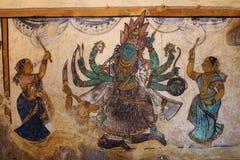 Pittura indù di concetto dalle pareti di un tempio indiano del sud Fotografie Stock Libere da Diritti
