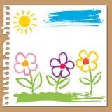 Pittura infantile - fiori Fotografia Stock Libera da Diritti