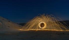 Pittura leggera nel deserto Fotografia Stock Libera da Diritti