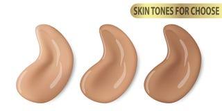 Pittura liquida cosmetica di correttore di trucco del fondamento il promo del tono di vettore 3d per colore della pelle different Fotografie Stock