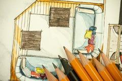 Pittura a mano libera di schizzo dell'inchiostro nero e dell'acquerello del salone piano della pianta dell'appartamento con molte Immagini Stock