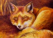 Pittura monocromatica della volpe sulla tela Immagine Stock