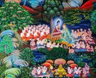 Pittura murala buddista tailandese indigena della vita di Buddha immagini stock