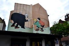 Pittura murala del fumetto a Bruxelles, Belgio Immagine Stock