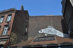 Pittura murala del fumetto a Bruxelles, Belgio Fotografia Stock