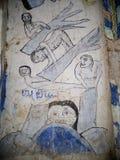 Pittura murala dell'affresco di ESARN di storia unica famosa TAILANDESE di mito Fotografia Stock Libera da Diritti