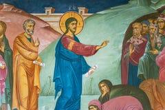 Pittura murala della predica del Jesus Christ in Tolga Monastery immagine stock